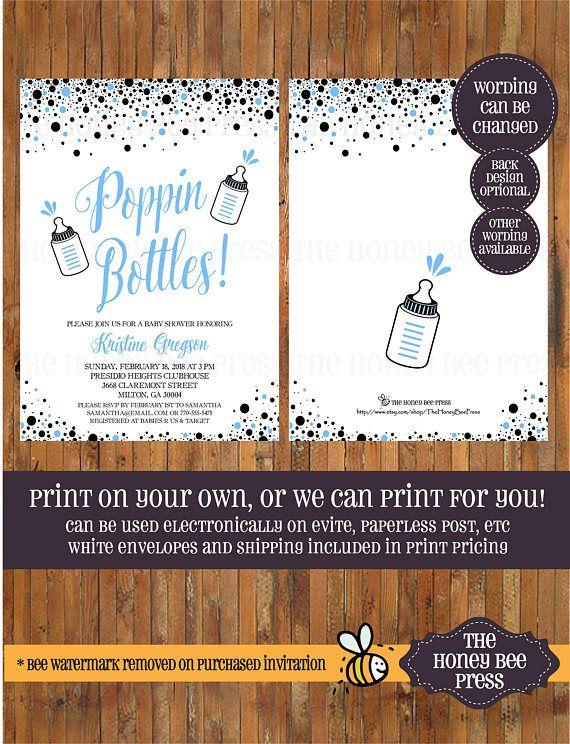 Baby Shower Invitation Poppin Bottles