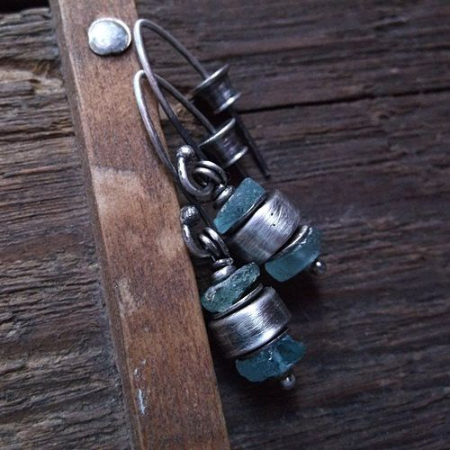 BLUE ICE, ancient glass, roman glass beads, old glass, sterling silver, blue ancient glass earrings by pieceofmysoulArt on Etsy