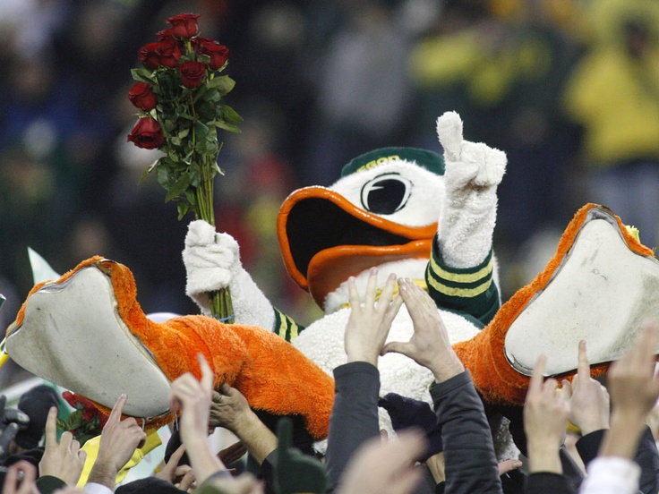 The Oregon Duck celebrating the win over Oregon State and a berth to the 2010 Rose Bowl Game.