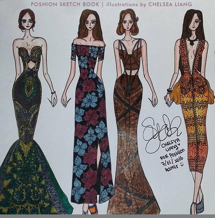 Poshion Sketch Book | #fashionillustration #sketchbook #fashionsketch #fashiondesign #draw #croquis #learntodraw #fashionposes #fashionfigure #fashion #batik #textiledesign #indonesiandesigner