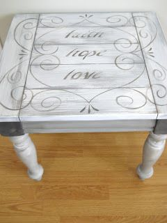 Lake Girl Paints: End Table Redo - Shades of Grey  I like the accents. My end tables look almost exactly like this. I would need to do shades of brown or cocoa, but I think it'll work. I wouldn't use the wording, but maybe some stencils of cool scrolls or something.