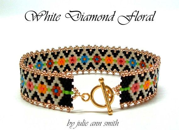 Julie Ann Smith Designs WHITE DIAMOND FLORAL Skinny Mini Odd Count Peyote Bracelet Pattern