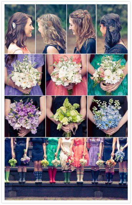 multi-color bridesmaids.. + wellies!