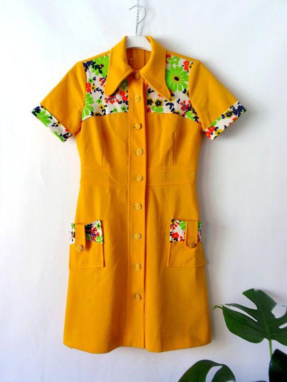 Vintage Babydoll YELLOW 60s  BUTTONED DRESS // Vestido vintage amarillo 60s con cuello de pico. Abotonado.