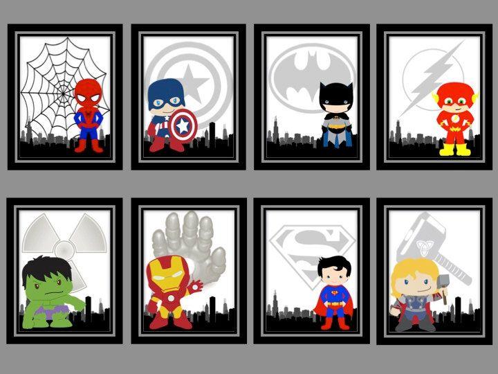 Super Hero Prints(8x10)-Iron Man, Hulk, Superman, Thor, Spiderman, Flash, Batman, Captain America, Super Hero Nursery Decor, Boys Room by ANewDae on Etsy https://www.etsy.com/listing/227495093/super-hero-prints8x10-iron-man-hulk