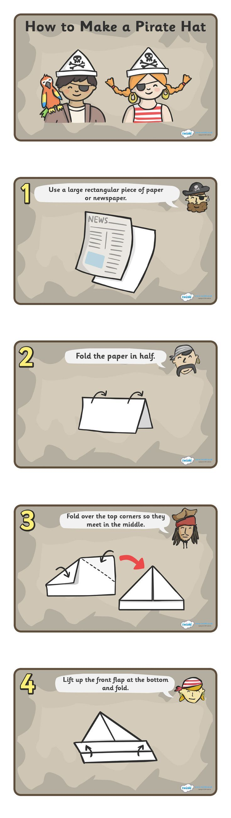 Twinkl Resources >> How To Make A Pirate Hat  >> Classroom printables for Pre-School, Kindergarten, Elementary School and beyond! Pirates, Instructions, Activities