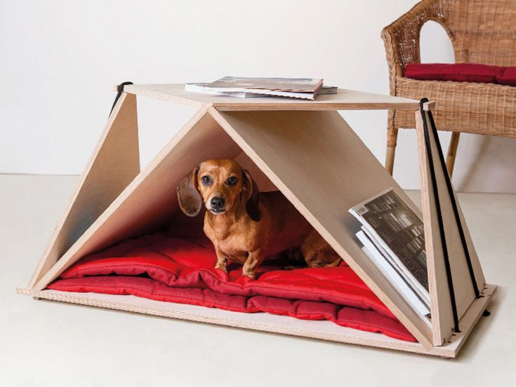 fabbricabois nidin pet shelter acts as origami styled table