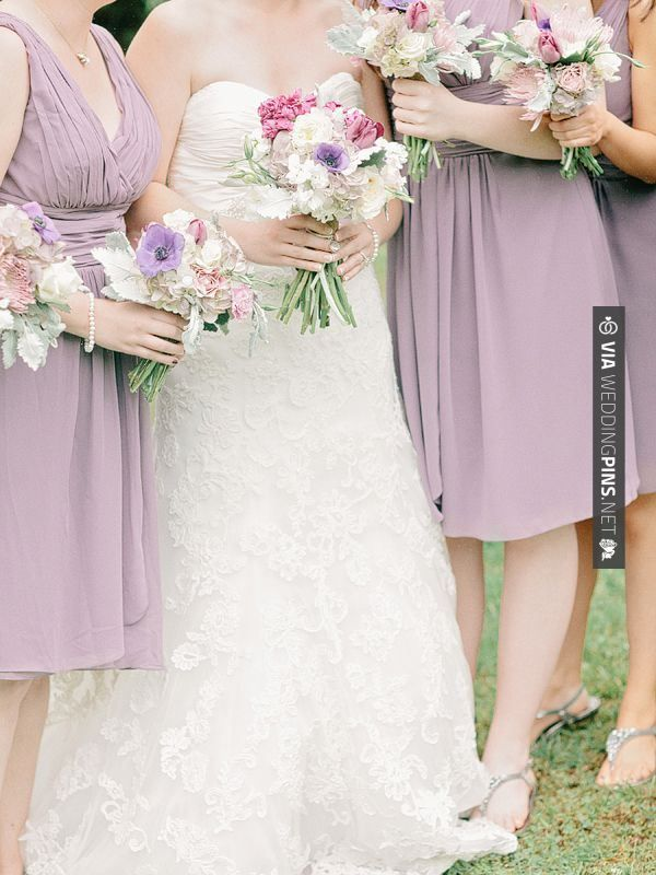 Sweet! - lavender bridesmaid dresses + lovely bouquets! | CHECK OUT MORE GREAT PURPLE WEDDING IDEAS AT WEDDINGPINS.NET | #weddings #wedding #purplewedding #purpleweddingphotos #events #forweddings #iloveweddings #purple #romance #vintage #planners #ilovepurple #ceremonyphotos #weddingphotos #weddingpictures