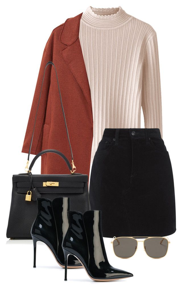 """Sin título #3851"" by camilae97 ❤ liked on Polyvore featuring MANGO, rag & bone, Hermès, Gianvito Rossi and Blanc & Eclare"