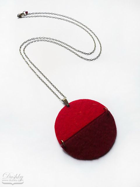 pendant by #dushky | #jewelry #accessories #handmade #felt #necklace #pendant #round #circle #red #burgundy #marsala #geometric