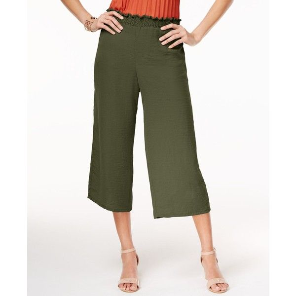 Ny Collection Pull-On Culottes featuring polyvore women's fashion clothing pants capris olive white wide leg trousers pull on pants white trousers wide-leg pants white pants