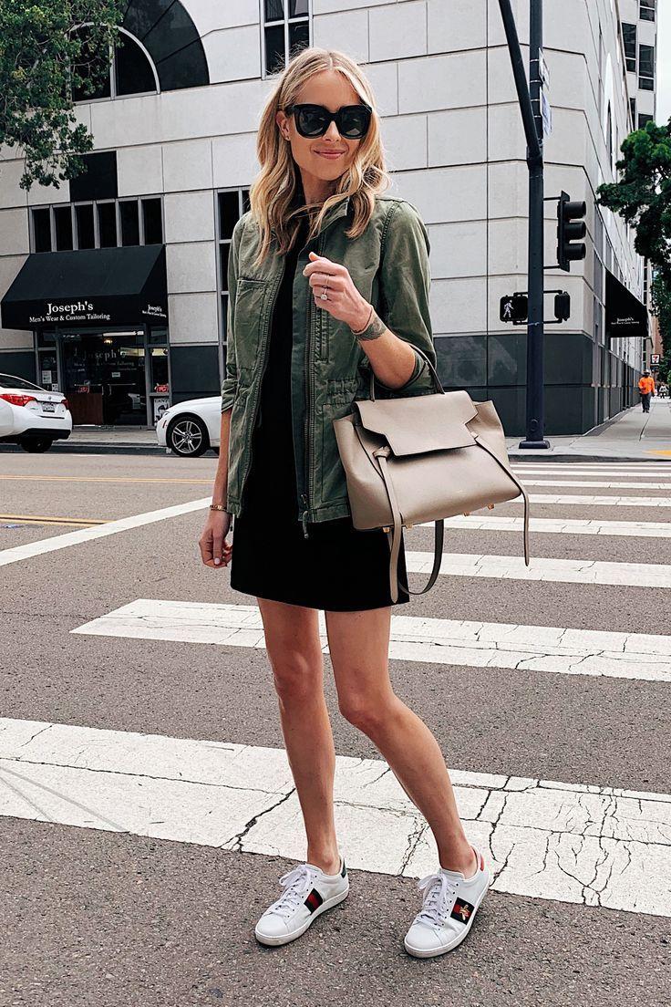 Fashion Jackson Wearing Green Utility Jacket Little Black Dress Gucci Sneakers Celine Mini Belt Bag Fashion Jackson Dress With Sneakers Fashion [ 1104 x 736 Pixel ]