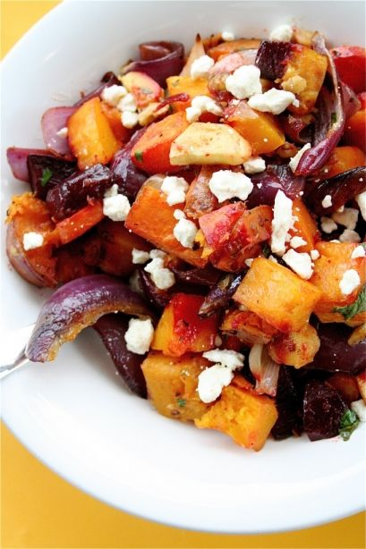 Warm Winter Vegetable Salad. (Parsnip, red onion, butternut, sweet potato, beetroot, feta walnuts - yummy! Balsamic and dijon glaze)