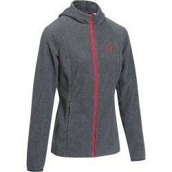 Polaire capuche 2 en 1 équitation femme HR gris chiné foncé logo rouge