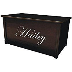 Wood Toy Box, Large Espresso Toy Chest, Personalized Edwardian Font, Custom Options (Cedar Base - Silver Lettering)