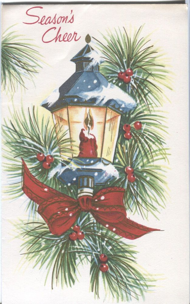 Vintage Pollyanna Christmas Card : Lamp with Greenery