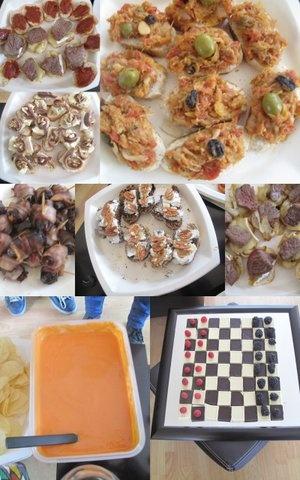 Brandada de bacalao; Datiles con bacon; Salmorejo; Vieras; pintxos pintxos y mas pintxos