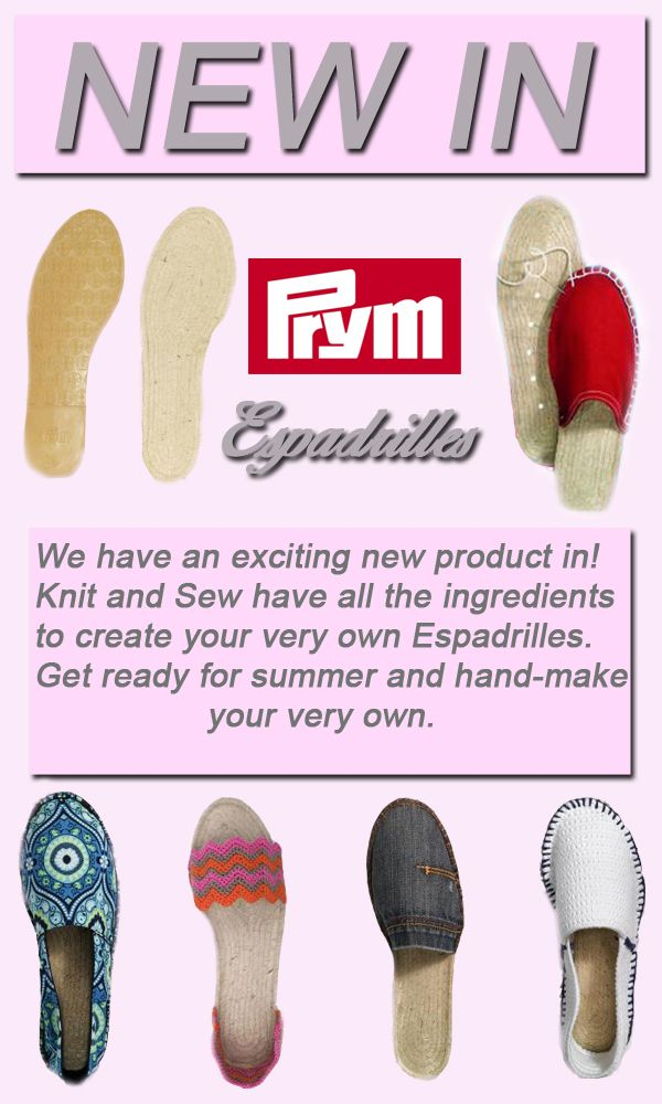 We are very excited to introduce a new product! If you love hand-making and personalising your own things, then this is perfect for you! If you are interested, head on over to our online shop by clicking the link below:   http://www.knitandsew.co.uk/Prym+Espadrilles+/0_CAHE263.htm  #espadrilles   #prym   #handmade  #homemade