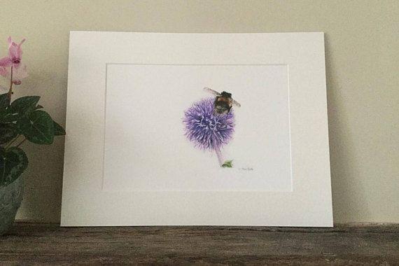 Bumble bee fine art print, coloured pencil, wedding gift, anniversary gift, nursery