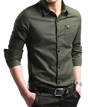 XTAPAN Men's Casual Slim Fit Shirt Cotton Long Sleeve Button Down Dress Shirt In stock - $23.99
