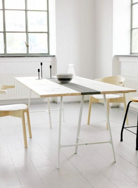 diy table top with Ikea vika lerberg trestle legs (on livet hemma)...Ikea is a DIY-ers paradise, everything is waiting to be customized
