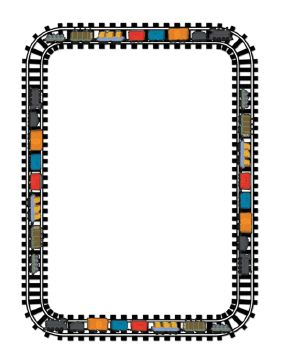 This train border features colorful little trains encircling the border. It would be a cute addition to a little boy (or any child's) room, or used for flyers or signs at a toy store, school, and so on. Free to download and print.