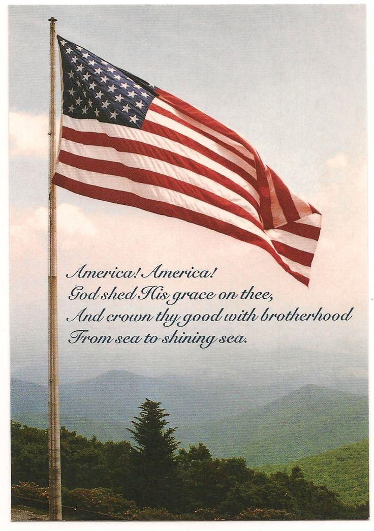 "Vintage ""America The Beautiful"" Patriotic Picture Postcard"