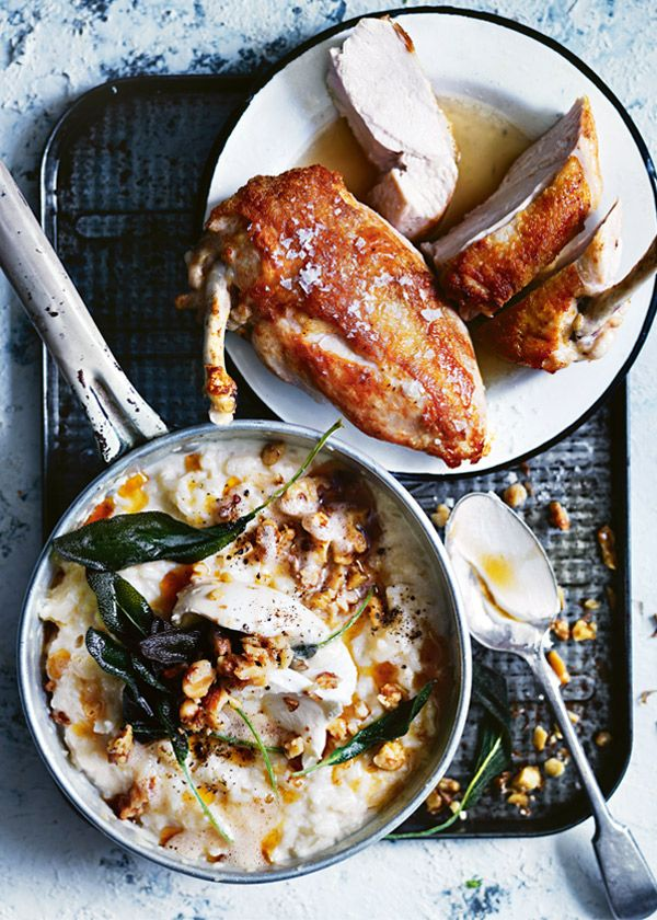 crispy chicken breast with cauliflower risotto from donna hay