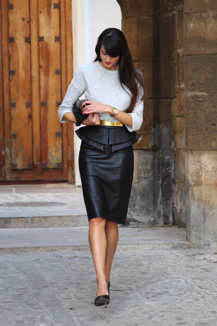 Super chic work outfit complete with leather pencil skirt, pep lump top and gold buckle belt