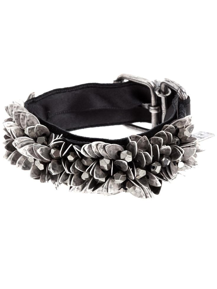 Goti Bracelet for Women, Black, Leather, 2017, One Size
