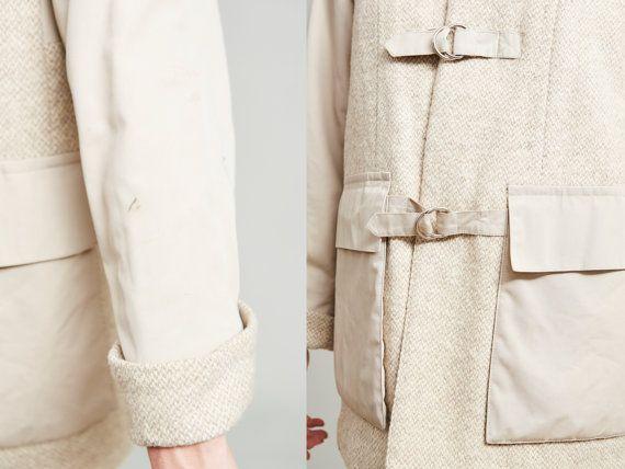 1970s Davis Beige Wool Knit and Khaki Coat M GR17