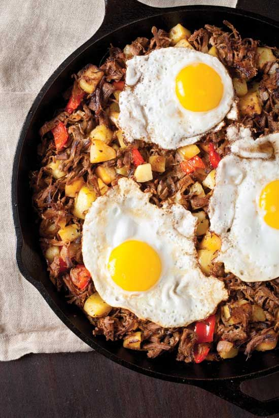 Cast Iron Roast Beef Hash Recipe _ The golden crisp of a Roast Beef Hash Recipe in a cast iron skillet simply can't be beat. Serve with freshly gathered eggs & cantaloupe chunks. - GRIT Magazine