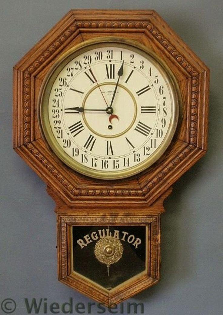 57: Oak Regulator clock by Wm. L. Gilbert Clock Co. 2