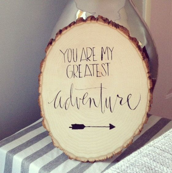 "perfect gift. Hand-Lettered ""Greatest Adventure"" Tree Slice from a beautiful shop"