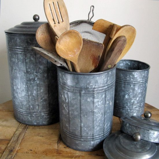 Farmhouse kitchen, Galvanized Canisters, $58