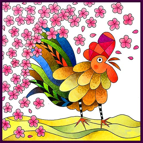 Lunar Year of the Rooster Coloring Card designed and colored by Betty Hung