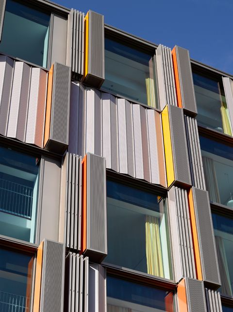 Folding/Sliding shutters made ​​of perforated aluminum at the Children and Heart Institute in Innsbruck | Architect: Nikl & Partner, Munich