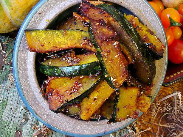 From Just Hungry, but modified to cut the spiciness a bit.  I just started getting to know winter squashes, and kabocha has become my favorite.  Its fairly small, nicely sweet, and the skin is so thin that you dont need to peel it.  This is a really easy way of preparing it.