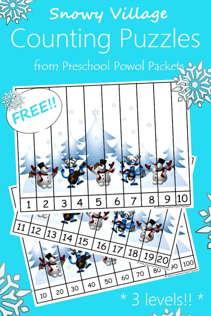 {FREE} Snowman Counting Puzzles | Preschool Powol Packets