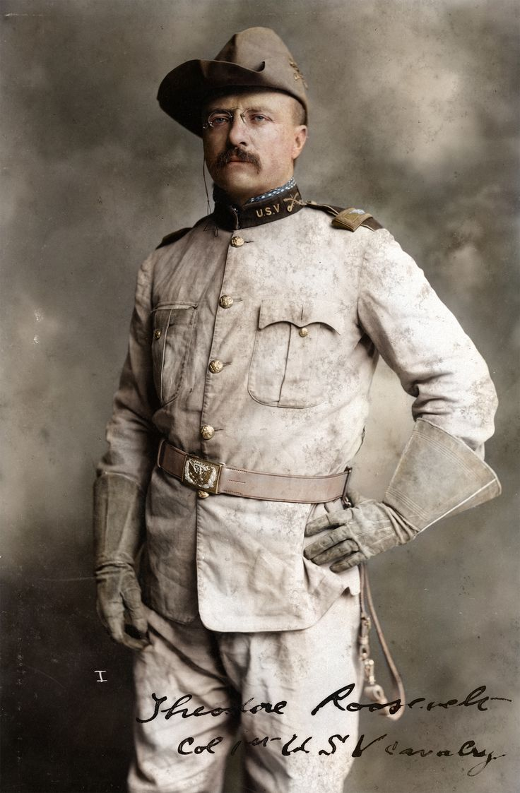 Theodore Roosevelt in his Rough Riders uniform with his signature blue polka-dotted scarf. [Colorized History]