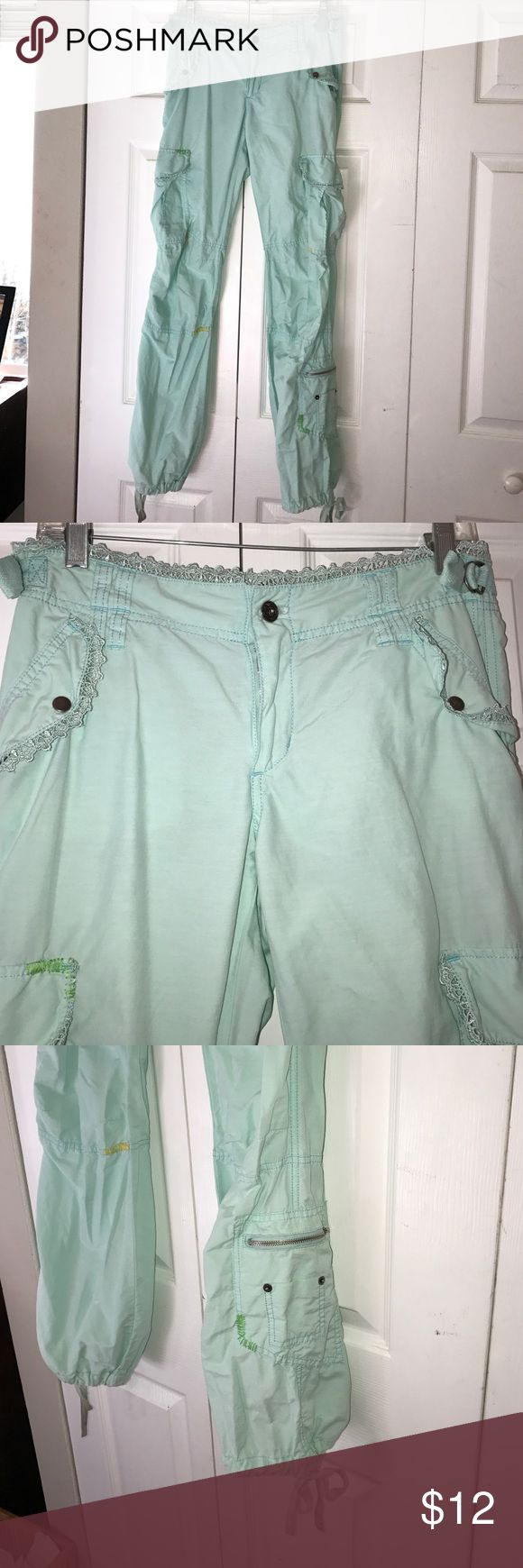 Miss Me aqua pants Soft aqua pants with adjustable sides, lace detailing, and yellow and green stitching Miss Me Pants Trousers