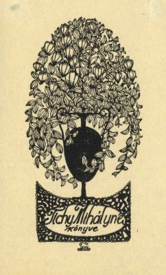 Bookplate by Kálmán Tichy for Tichy Mihályné, 1915c.