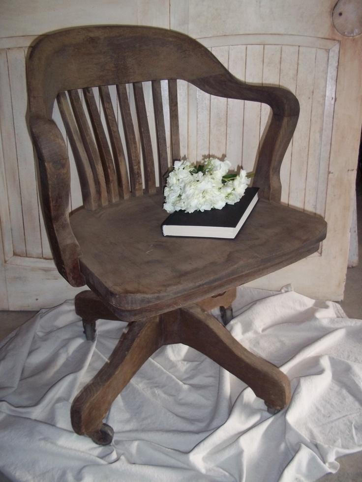 Vintage Wood Office Chair Swivel Tilt Rolling Antique