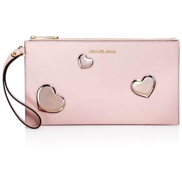 Michael Michael Kors Jet Set Travel Large Heart Clutch (657925 PYG) ❤ liked on Polyvore featuring bags, handbags, clutches, pink handbags, heart shaped handbag, heart purse, pink heart purse and travel handbags