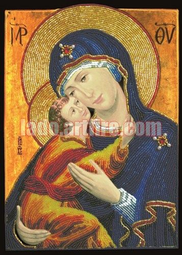 Our Lady With Child bead embroidery DIY kit with Swarovski crystals