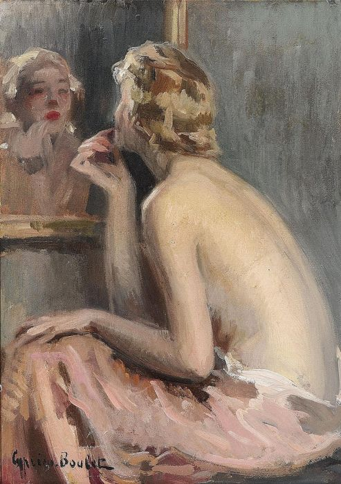 Cyprien-Eugène Boulet - Nude before the mirror (c1920)