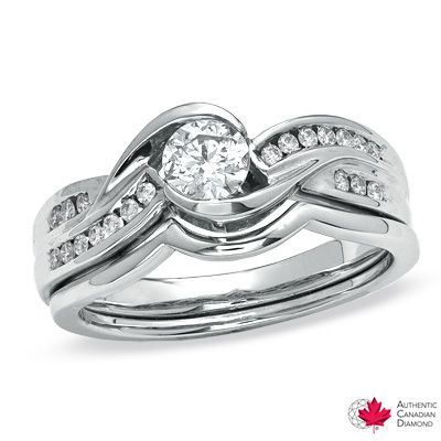 0.50 CT. T.W. Certified Canadian Diamond Bridal Set in 14K White Gold (H-I/I1)