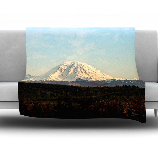 Mt. Rainier by Sylvia Cook Fleece Throw Blanket