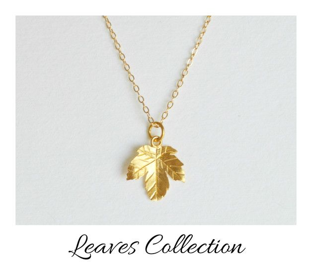 Long, gold-plated necklace, pendant as a small maple leaf for the fall, beautiful jewelry for the neck / long, gilded necklace, small maple leaf for autumn, beautiful jewelery for your neck by miaundmartha via DaWanda.com