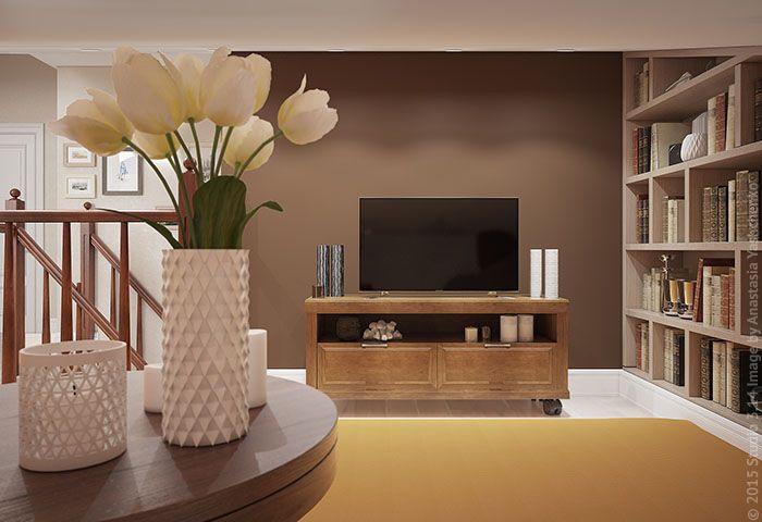 Пол напротив ТВ-зоны застлан ковром, на которором тоже можно расположиться для просмотра.